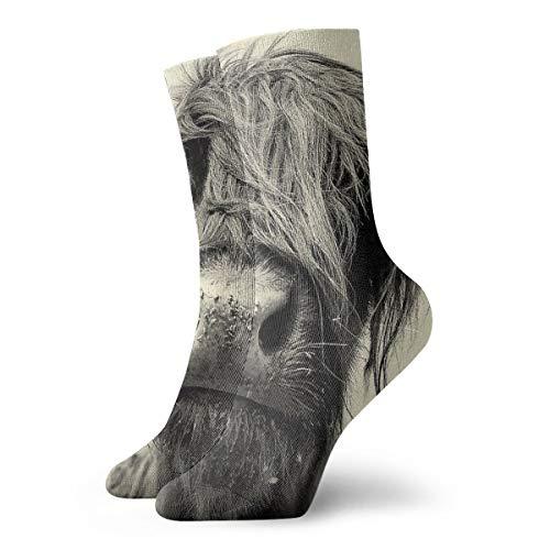 NOT ClassicsCompressionSocks Highland Cow Athletic 11.8inch(30cm) Long Crew Socks for Men Women