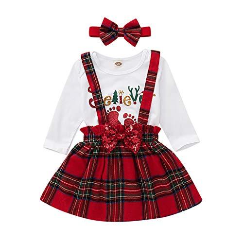Baby Meisjes Kerst Kleding Sets Peuters Lange Mouwen Xmas Tops Romper Jumpsuit Plaid Suspender Rokken Prinses Jurken Met Hoofdband 3 Stks Vakantie Outfits Kostuum voor 0-3 Jaar