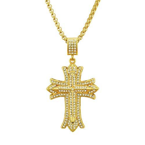 Heren Cruciform Sterke Sieraden Plated Hip Hop Zware Hanger Kettingen Grove Strass Steentjes 18K Goud Curb Cubaanse Link 30inch goud