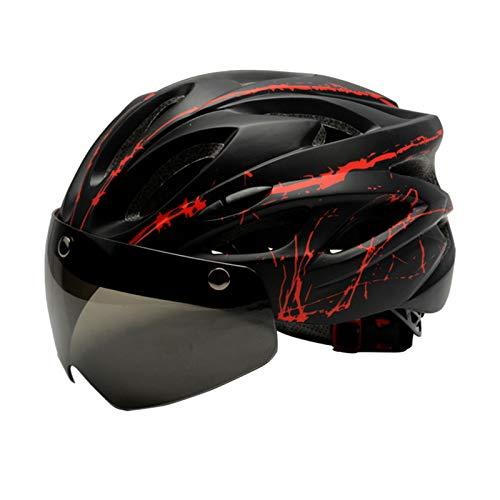 Zeroall Casco de Bicicleta Ligero para Hombre Mujer 56-62cm Tamaño Ajustable Casco de Ciclo con Gafas Magnéticas Desmontable Cascos de Ciclismo para Bicicleta Patineta Scooter(Negro Rojo)