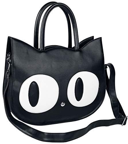 Banned Alternative Big Kitty Mujer Bolsa de Mano Negro, 100% Poliuretano,