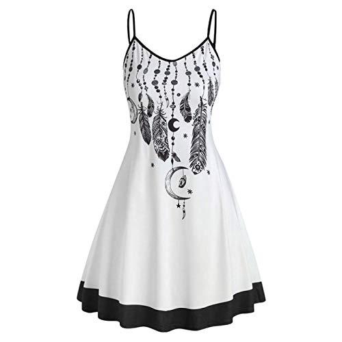 Correa de espagueti Mini vestido de sol y luna impresión sin mangas más tamaño vestido de las mujeres cuello en V una línea casual de vacaciones vestidos de playa