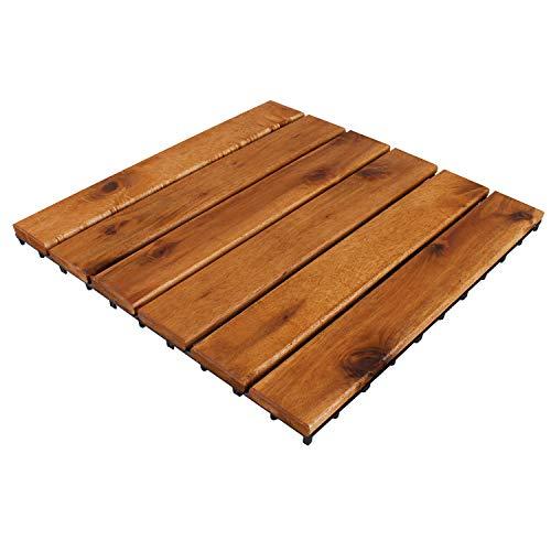 Holzfliese | Akazienholz | FSC®-Zertifiziert | 30x30cm Fliese | Stecksystem individuell zuschneidbar | Modell 2020