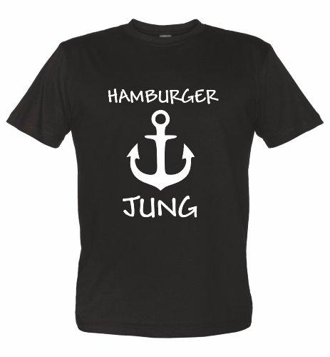 Hamburg T-Shirt Motiv Hamburger JUNG, schwarz, XXL