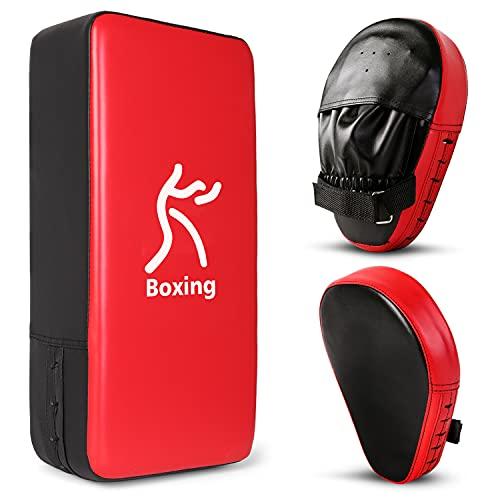 Odoland Handpratzen Set 2 IN 1 mit PU Pratzen Schlagpolster für Boxsack Boxen Kickboxen Boxtraining Kampfsport Pratze Thai Kick Boxen Pratzen
