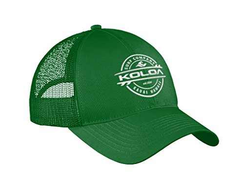 Joe's USA Koloa Surf Thruster Logo Old School Curved Bill Mesh Snapback Hat-Kelly/w