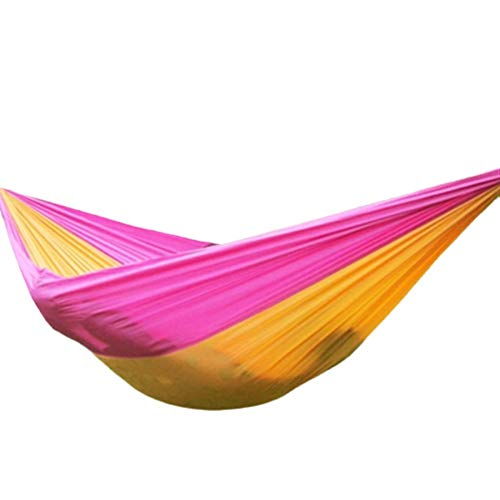 Jun7L Lightweight Outdoor Hammock With Mosquito Net Parachute Hammock Swing Suitable For Garden Travel Camping Travel Camping Hammock (Color : Pink orange, Size : 250x140cm)
