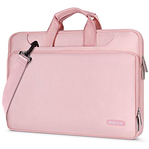 MOSISO 360 Protective Laptop Shoulder Bag Compatible with MacBook Pro 16 inch, 15 15.4 15.6 inch Dell Lenovo HP Asus Acer Samsung Chromebook, Water Repellent Sleeve Case with Trolley Belt, Pink