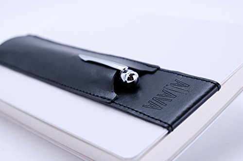 Aljava Stifthalter aus echtem Leder für A5 Notizbuch (mit Hardcover) - Exklusives Stiftetui & Zubehör für Moleskine, Filofax oder Leuchtturm1917 (schwarz)