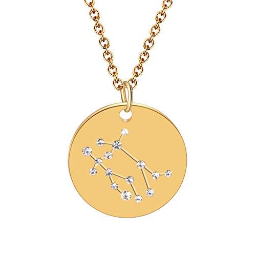 Collar De 12 Constelaciones, Collar con Signos del Zodíaco para Mujer, Joyería Gótica, Gargantilla Redonda Dorada con Dijes-Geminis