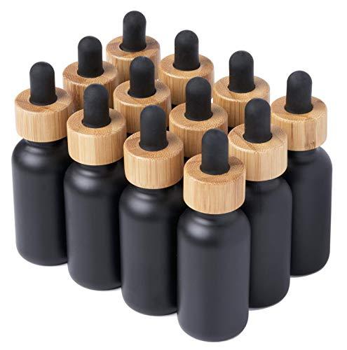 Paquete de 12 botellas de vidrio de aromaterapia con revestimiento negro Boston con tapa cuentagotas de bambú, 1 onza
