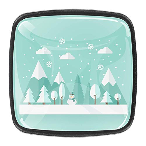 4 pcs Black Cabinet Knobs for Kitchen Cabinets Bedroom Wardrobe Dresser Drawers Winter Landscape-01