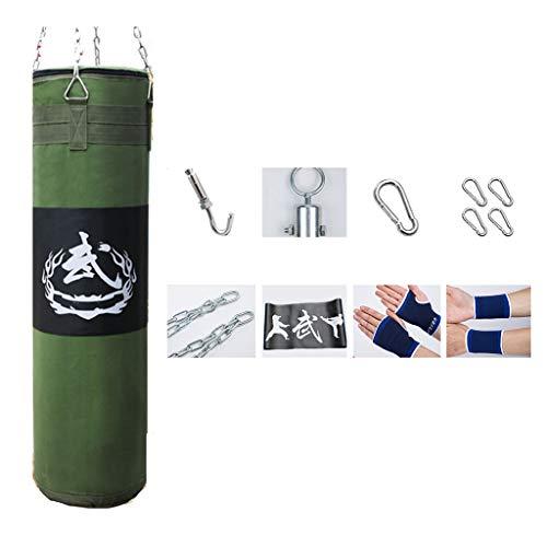 YUN HAI wasserdichte Segeltuch Boxsack Sandbags Mit Hängender Kette, Außen Groß Adult Boxen Schwer Training Bag for Thai MMA Taekwondo, Armee-Grün (Größe : 100cm)