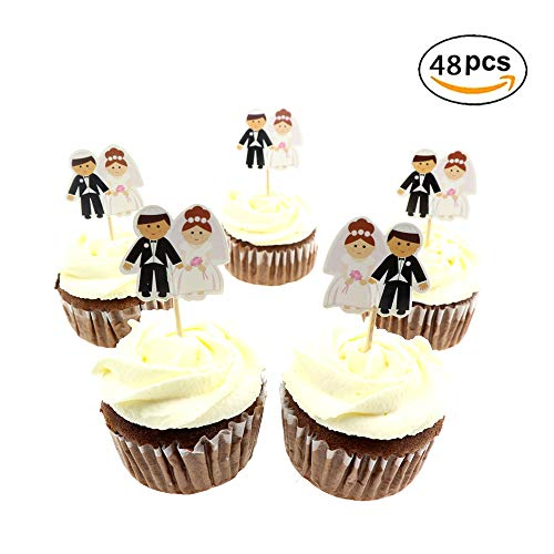 48pcs Cute Bride and Bridegroom Toppers Mini Cake Toppers Toppers Decorative Accessories for Bridal Shower Wedding Ceremony and Bachelor Party