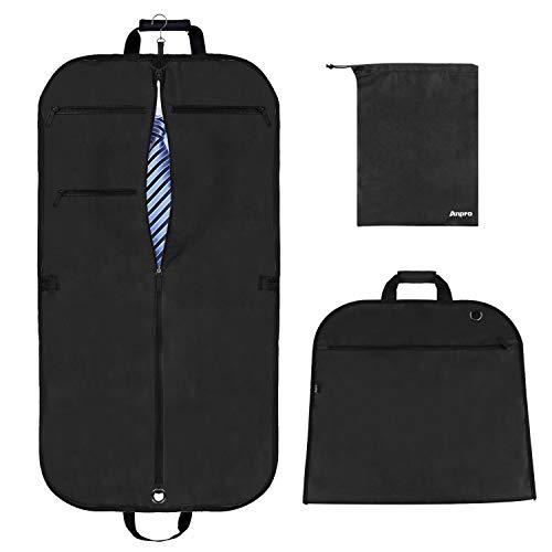 Anpro 44x22 Inch Suit Carrier Bag, Travel Suit Carrier for Mem Women on Business Trips, Suit Bag with Adjustable Shoulder Strap and Shoe Bag (Black)
