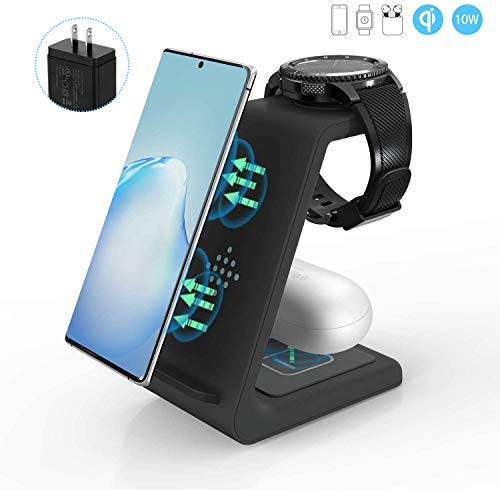 Wireless Charger, ZHIKE 3 in 1 10W Fast Charging Qi-Certified, Compatible with iPhone 11 Series/XS/XR/X/ 8/8 Plus, Huawei, Samsung S10/ S10+, Airpods, Galaxy Watches and Buds (Not for Apple Watch)