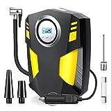 Airsnigi Digital Tyre Inflator, Portable Air Compressor Car Tyre Pump 12V 100PSI Rapid Car Tyre Inflator Air Pump with 30L/Min Air Flow, 3 Nozzle Adaptors and Digital LED Light