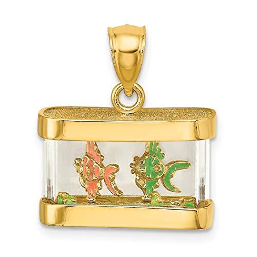 18 mm 14 Karat Gold 3D Tier Sealife Fisch Aquarium mit Emaille Fisch innen beweglicher Charm Anhänger Halskette Schmuck Geschenke für Frauen