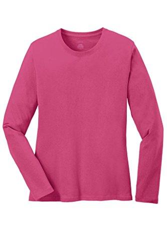 Joe's USA - Ladies Long Sleeve 5.4oz 100% Cotton T-Shirt-Sangria-XL