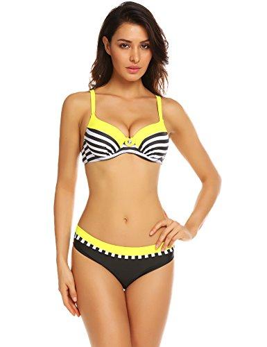 Colfeel Mujer Trajes de baño Dos Piezas Rayas Sexy Conjunto de Bikini Tankini Push Up Swimsuit