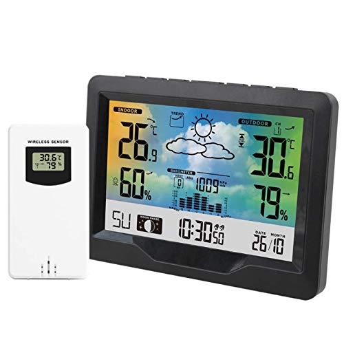 QAZW Estación Meteorológica Inalámbrica con Sensor Exterior, Relojes De Control Meteorológico/Alerta De...