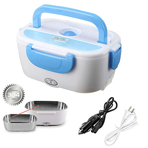 Electric Lunch Box Food Heater for Car and Home with Removable 304 Stainless Steel Storage Container Warming Bento 2 in 1 Car 12V and Home Use 110V (Blue)