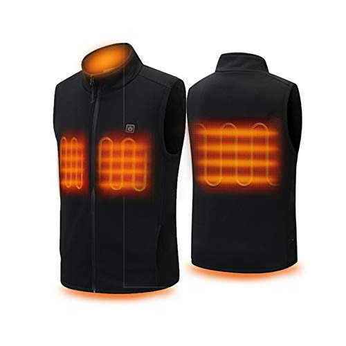 GOLDEN MANGO USB Heated Vest,Electric Vest Warmer Gilet for Men/Women,Three zones heating,three stalls,hand wash and machine wash,for Motorcycle Fishing Skiing,Black,S