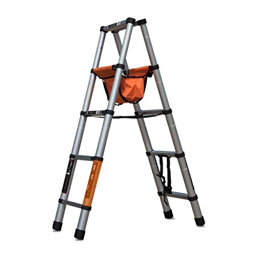 CML Home Escaleras Interior del hogar y al Aire Libre densamente aleación de Aluminio Escalera Plegable Shrink Antideslizante de múltiples Funciones del hogar escaleras, Plata