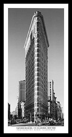 Henri Silberman Flatiron Building Póster De Impresión De Imagen en el Marco de Aluminio en Negro