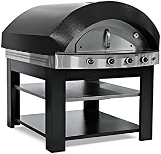 Horno de gas para pizza, color negro, con base