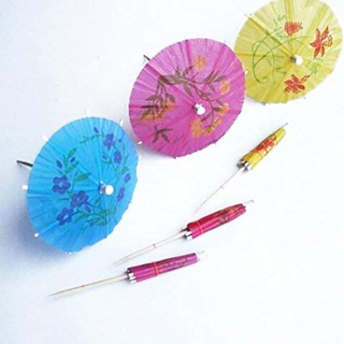 Yevison 50Pcs Mixed Color Mini Umbrellas Parasol Snack Cocktail Party Pick Decoration Durable and Useful