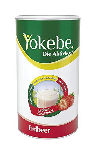 Yokebe Aktivkost Erdbeer Diät Shake (zum Abnehmen, 10x Mahlzeitersatz als Pulver mit hochwertigen Proteinen - mit essentiellen Vitaminen und Spurenelementen)