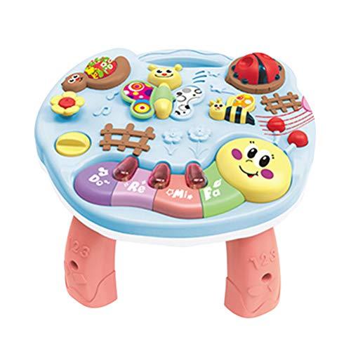 spier Mesa de juego, 2 en 1, mesa de música para bebé, multifuncional, mesa de actividades musicales