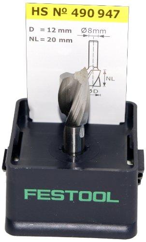 Festool 490947 HS Spiralnutfräser HS-Stahl Spi S8 D12/20
