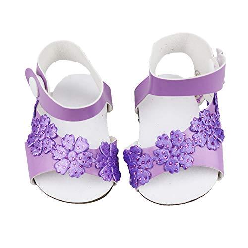 Lorenlli Niedliche lila körnige Schuhe passt für 18-Zoll-amerikanische Mädchenpuppe für Babypuppenzubehör Mädchen Bestes Chirstmas-Geschenk
