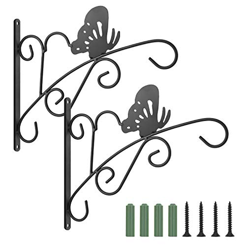 Lewondr Haken für Blumenampel, 2 Stück Retro Aluminiumlegierung Wandhaken Aufhänger Halterung mit Schrauben für Blumentöpfe Pflanzen Laternen, Garten Balkon Zaun Außen Deko - Schmetterling, Schwarz