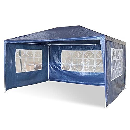 MaxxGarden - Carpa de jardín de 3 x 4 m, protección UV 50+, hidrófugo, 12 m², 4 paredes laterales enrollables, 4 ventanas, color azul