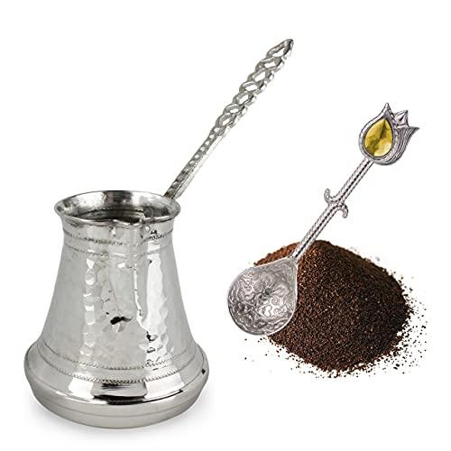 Cafetera Turca: Cezve Cafetera de Cobre Plateado Para Café Turco | Cafetera Arabe Ibrik con Mango | Olla de Cobre Martillado Otomana Hecha a Mano | 6 porciones
