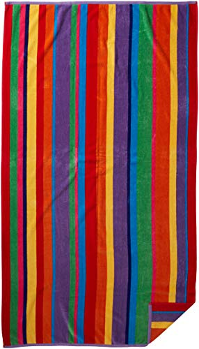 COTTON CRAFT - 2 Pack - Oversized Jacquard Double Woven Velour Beach Towel 39x68 - Summer of Siam Multi Stripe - Highly Absorbent - 450 Grams per Square Meter 100% Pure Ringspun Cotton