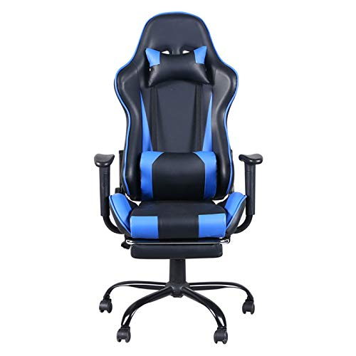 Gaming Chairs for Adults, Video Game Chairs for Teens, Computer Gaming Chair,pc Leather Chairs,Adjustable Office Chair with Foot Rest, Ergonomic Backrest with for E-Sports/Desk,Blue