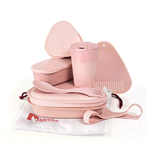 Light My Fire MEALKIT BIO - Reusable to-go tableware set, cutlery and storage jars - 8 pcs - Pink - Made in Sweden