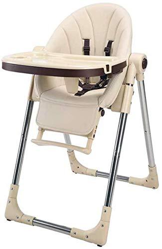 Bebé Silla alta Dinero de los niños plegables ajustable con bandeja extraíble cómoda bebé alfombra de bebé alimentación segura de alimentación silla alta,Beige