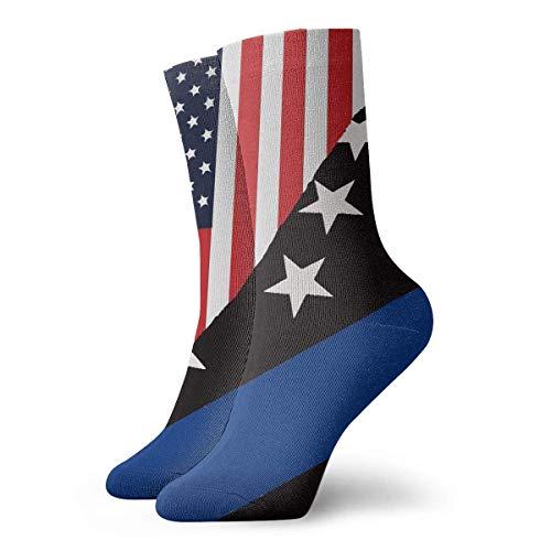 QUEMIN Spring USA Police Blue Flag Calcetines suaves y novedosos para mujer (30 cm / 11,8 pulgadas)