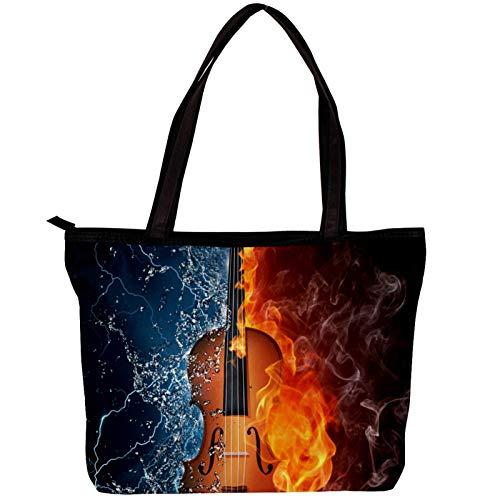 Xingruyun Handtasche Mode Damen Einkaufstasche Twill Stoff All-Match Damen Handtaschen Umhängetaschen für Damen Geige Wasser Feuer 30x10.5x39cm