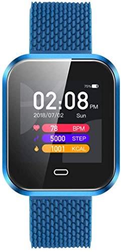 Reloj inteligente con monitor de salud, impermeable, con podómetro, ritmo cardíaco, presión arterial, monitoreo del sueño, recordatorio inteligente, Android e iOS, color negro y azul