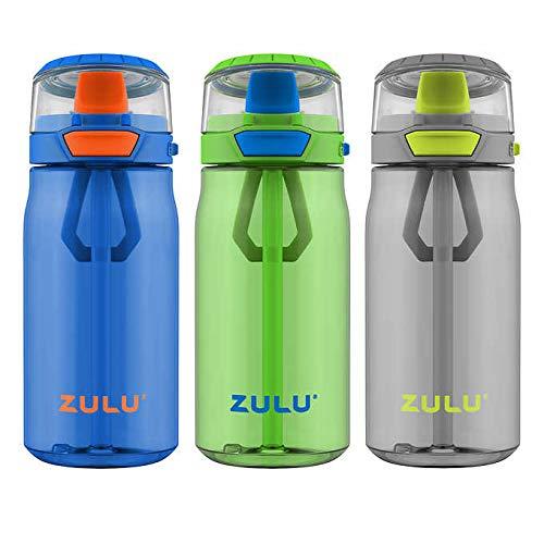 ZULU 3 Tritan Water Bottles Flex 3 Pack Gray,Black,Green 16 OZ
