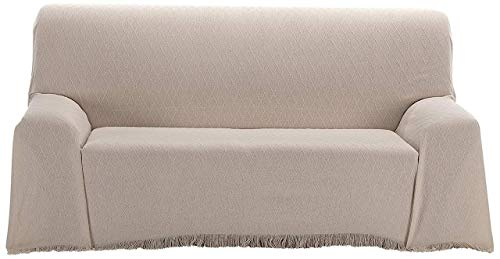 BENEDETTAHOME Colcha Foulard Multiusos Adriana para sofá y para Cama, Algodón-Poliéster 125x180cm. Crudo-Beige.