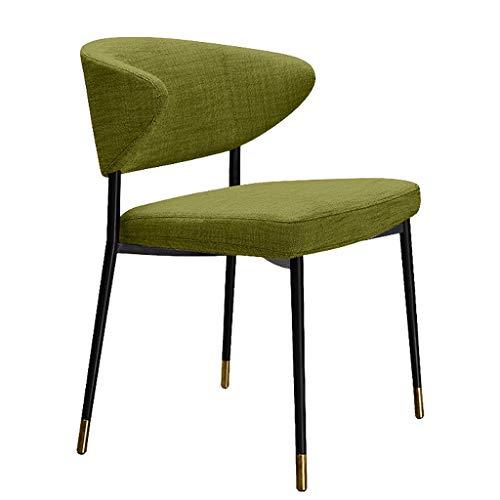ZJ Stabiler Esszimmerstuhl, einfacher Schreibtischstuhl, kreative Rückenlehne, Freizeitstuhl, Heim-Erwachsenen-Esszimmerstuhl, einzigartig (Farbe: Grün, Größe: Schwarz-Gold-Beine (H76 cm)