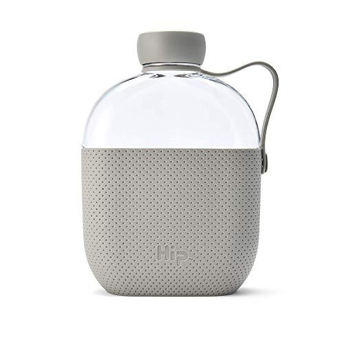 Hip 22oz / 650ml Tritan Wasserflasche mit strukturierter Silikonhülle und Seitenriemen, BPA-frei, stone