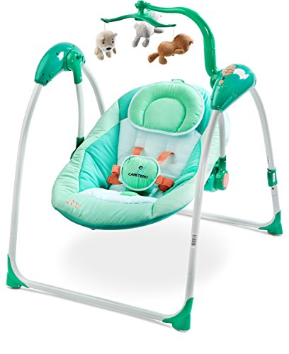 Caretero Loop Elektrische zusammenklappbare Babyschaukel Kinder Schaukelwippe mit Mobile, Moskitonetz, verschiedenen Schaukelrichtungen, Geschwindigkeiten und Timerfunktion Mint